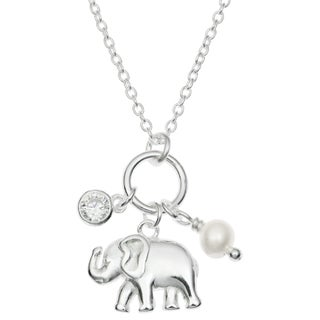 Queenberry Sterling Silver Luck Elephant Natural Fresh Water Pearl Clear CZ Charm Pendant Rolo Chain