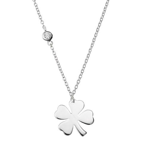 Sterling Silver 4 Leaf Clover CZ Friend Dangle Charm Pendant Rolo Chain Necklace