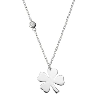 Queenberry Sterling Silver 4 Leaf Clover Luck Clear CZ Friendship Dangle Charm Pendant Rolo Chain Ne