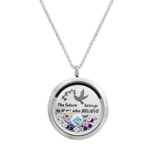 Queenberry The future belongs to those who believes....dreams Graduate Floating Locket Crystals Char