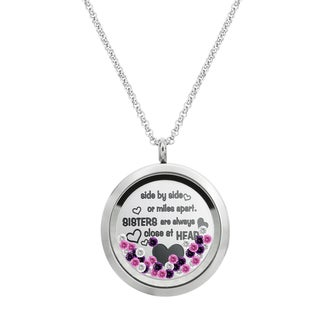 Queenberry Side ... Sister Are Always Close At Heart Family Daisy Flower Floating Locket Crystals Ch