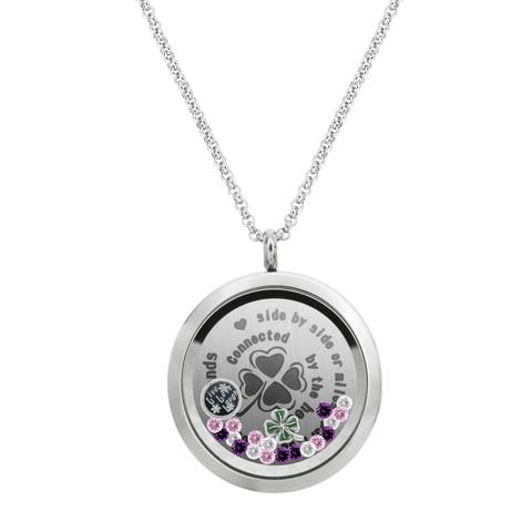 Queenberry We are Best Friends connected by the heart Friendship Floating Locket Crystals Charm Neck