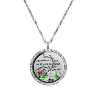 Queenberry Family Tree Love Heart Round Floating Locket Crystals Charm Necklace Pendant