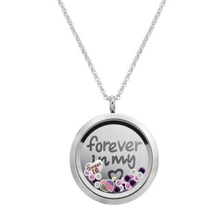 Queenberry Forever Love Sweet 16 w/ Heart Floating Locket Crystals Charm Necklace Pendant 30mm