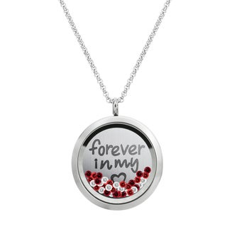 Queenberry Love Forever Round Floating Locket Red Crystal Chain Necklace Pendant 30mm