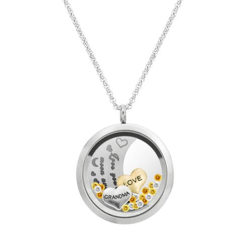 Queenberry Love You to the Moon and Back Grandma Family Floating Locket Crystal Charm Necklace Penda