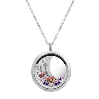 Queenberry Love You to the Moon and Back Aunt Niece Family Floating Locket Crystal Charm Necklace Pe