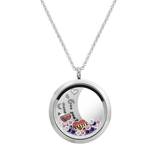 f34291838b Shop Queenberry Love You to the Moon and Back Aunt Niece Family Floating  Locket Crystal Charm Necklace Pe - Free Shipping On Orders Over $45 -  Overstock - ...