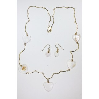 White heart necklace & earrings set