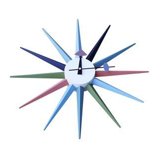 Midcentury Modern Sunburst Clock Multicolor