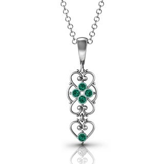 .925 Sterling Silver Emerald Pendant by Lucia Costin