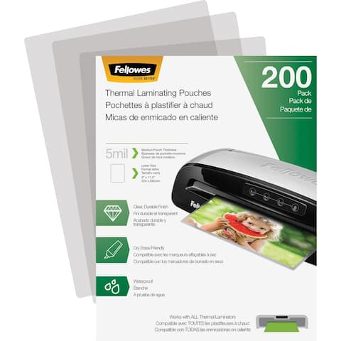 Fellowes Thermal Laminating Pouches - Letter, 5 mil, 200 pack