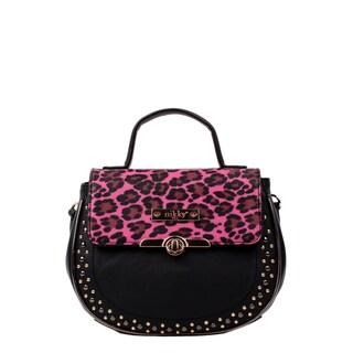Nikky Ophel Black/Pink Leopard Print Crossbody Handbag