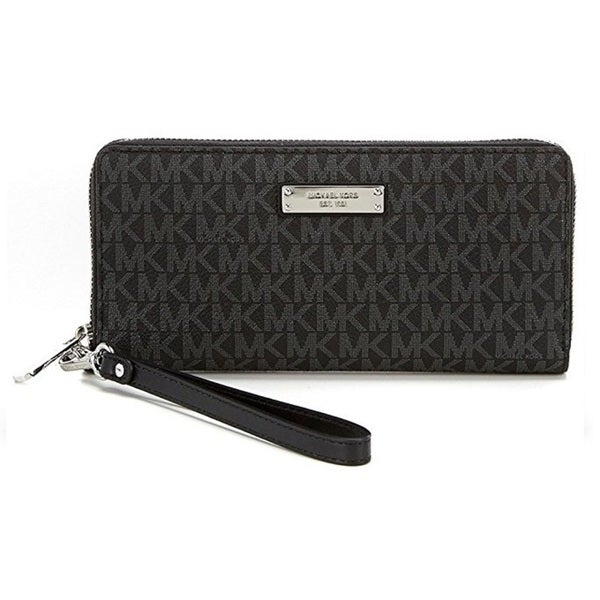 939aee1d8764 Shop Michael Kors Jet Set Black Travel Logo Continental Wallet - On Sale -  Free Shipping Today - Overstock - 15072559