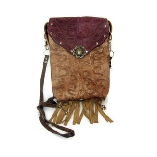 Women's Tan/Purple Leather Cowboy Boot Fringe Hipster Crossbody Handbag