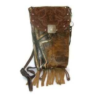 Cowboy Boot Cross Brown Leather Fringe Hipster Crossbody Handbag