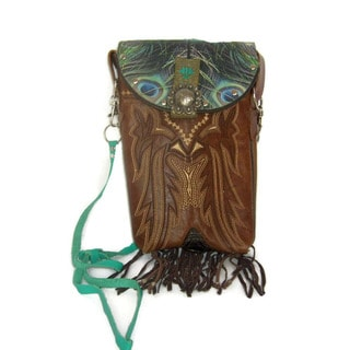 Cowboy Boot Brown/Teal Fringe Hipster Crossbody Handbag