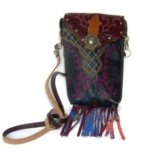 Rainbow Leather Cowboy Boot Fringe Hipster Crossbody Handbag