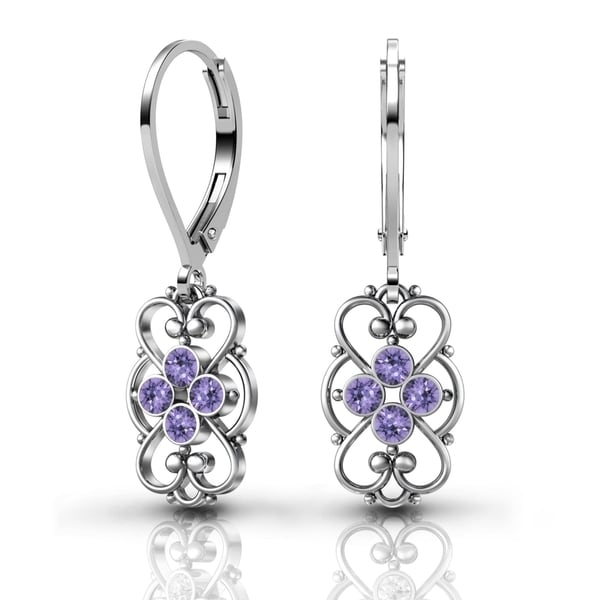 925 Sterling Silver Tanzanite Earrings By Lucia Costin