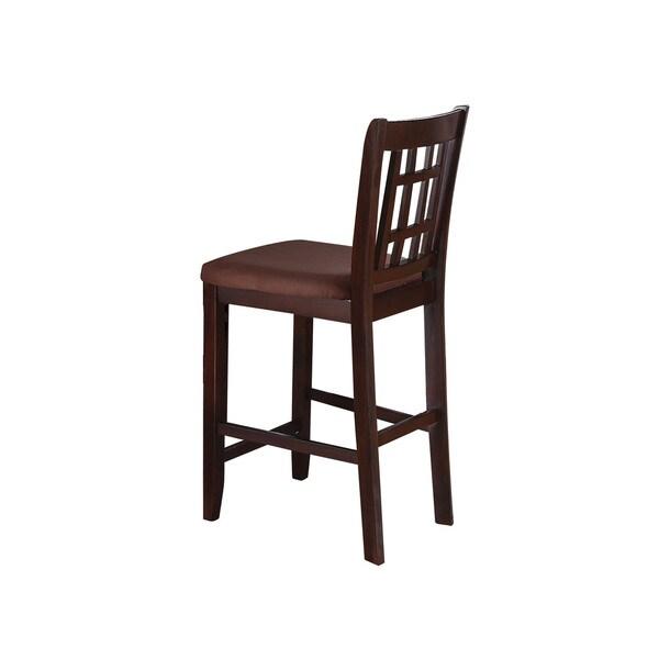 Set Of 2 Kitchen Counter Height Chairs With Microfiber: Shop Acme Furniture Adalia Walnut Wood/Foam/Microfiber