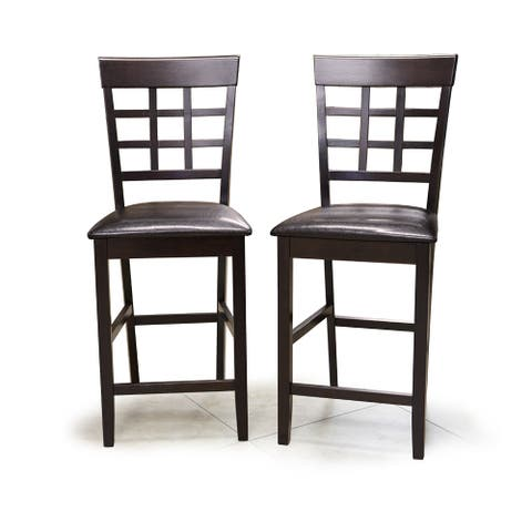 Warehouse of Tiffany Dark Brown Wood Bicast Leather Interlocking Bar Chairs (Set of 2)