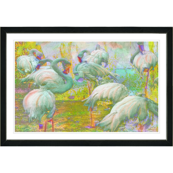 Studio Works Modern Framed Fine Art Nature Landscape Painting 'Flocking Flamingos' Wall Art Giclee Print by Zhee Singer