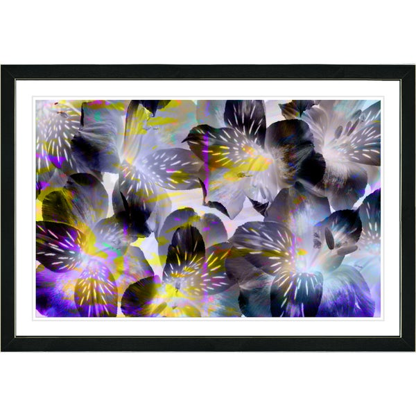 Studio Works Modern Framed Fine Art Contemporary Floral Painting 'Black Tiger Lilies' Wall Art Giclee Print by Zhee Singer