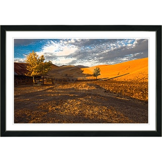 Studio Works Modern Framed Fine Art Contemporary Landscape Painting 'Big Country' Wall Art Giclee Print by Zhee Singer - Orange