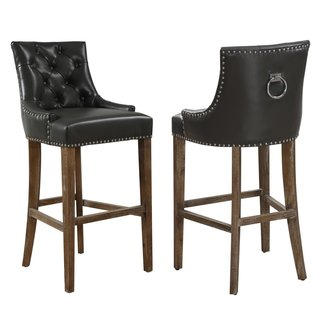 Uptown Grey Leather Barstool