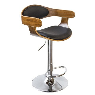 AmeriHome Bent Wood Raven Faux Leather Bar Stool