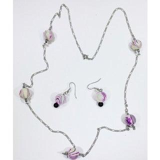 Detti Originals Purple glass bead necklace & earring set