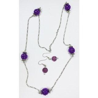 Detti Originals Purple beads necklace & earring set