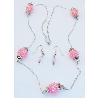 Detti Originals Pink bead necklace & earring set