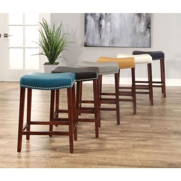Shop Abbyson Amherst 26 Inch Leather And Wood Backless Counter Stool