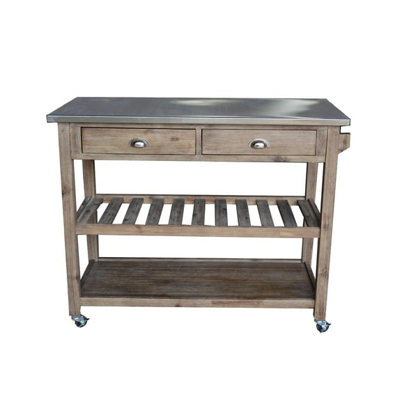 The Gray Barn Firebranch Wire Brush Kitchen Cart