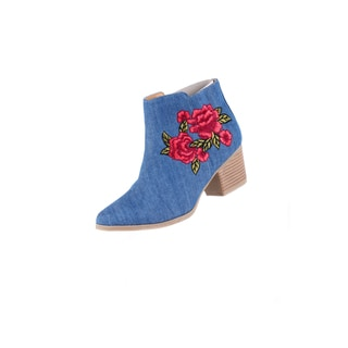Xehar Women's Floral Print Pointed Ankle Bootie