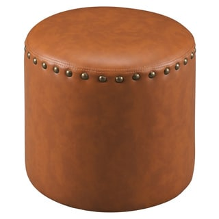 The Curated Nomad Barbossa Faux Leather Round Ottoman