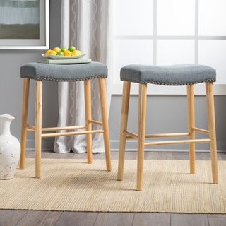 Jaxon 30-inchStudded Fabric Barstool (Set of 2) by Christopher Knight Home