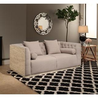 Abbyson Crystal Wood Shell Sofa