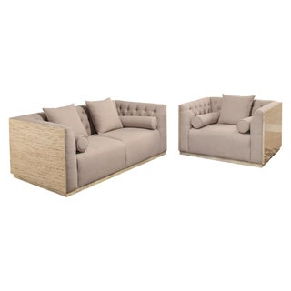 Abbyson Crystal 2-Piece Wood Shell Seating Set