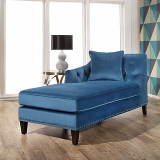 Abbyson Margot Teal Blue Tufted Velvet Chaise