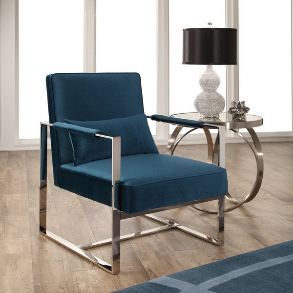 Abbyson Sloan Teal Blue Velvet Accent Chair With Silver Metal Base