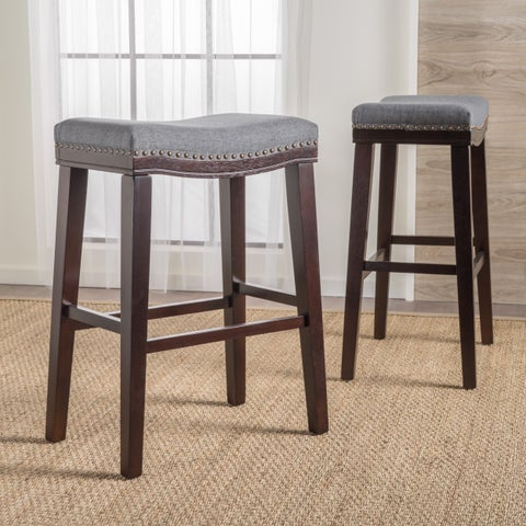 Rosalie 30-inchSaddle Studded Fabric Barstool (Set of 2) by Christopher Knight Home