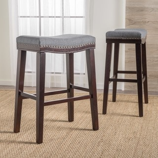 Link to Rosalie 30-inchSaddle Studded Fabric Barstool (Set of 2) by Christopher Knight Home Similar Items in Dining Room & Bar Furniture