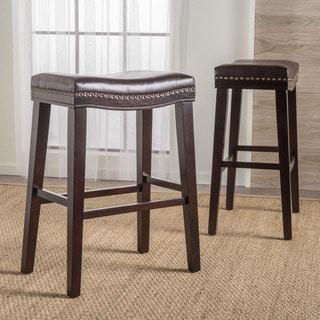 Rosalie Saddle Studded Faux Leather Barstool (Set of 2) by Christopher Knight Home
