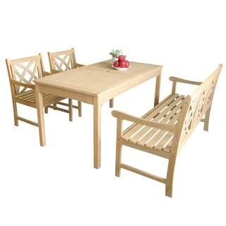 Beverly Outdoor 4-piece Dining Set with Rectangular Table, 1 bench and 2 Armchairs in Sand-Splashed Finish