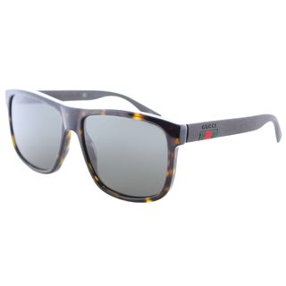 Gucci Women's GG 0010S 003 Dark Havana Plastic Dark Grey Polarized Lenses Rectangular Sunglasses