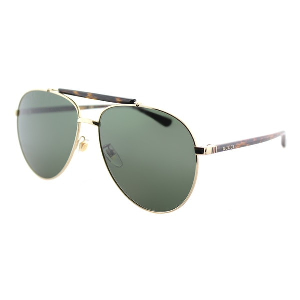 0b5a59ee4cce Gucci GG 0014S 006 Gold Havana Metal Aviator Sunglasses with Green  Polarized Lenses