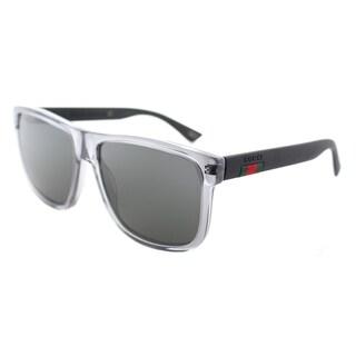 Gucci GG 0010S 004 Transparent Grey Plastic Rectangle Sunglasses Grey Polarized Lens