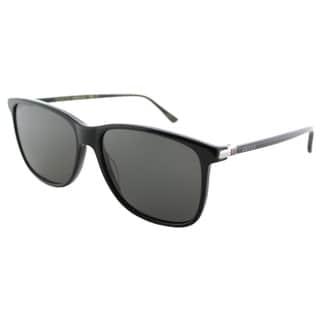 Gucci Women's GG 0017S 001 Black Plastic Green Polarized Lenses Square Sunglasses